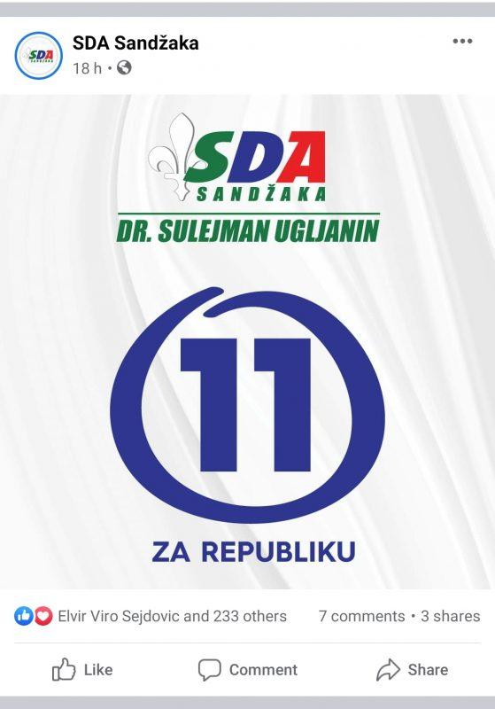 Poziv SDA za ponovljene parlamentarne izbore