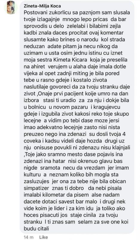 Skrnišot komentara Kimete Kicare